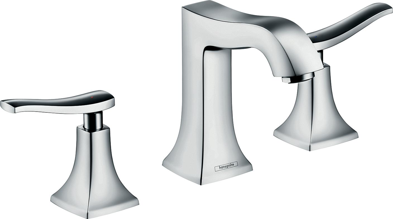 Смеситель hansgrohe Metris Classic для раковины на 3 отверстия и сливным гарнитуром, хром 31073000