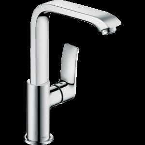 Смеситель hansgrohe Metris для раковины с поворотным изливом и сливным клапаном Push-Open, хром 31187000