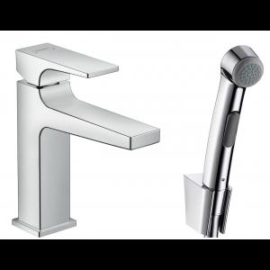 Смеситель hansgrohe Metropol для раковины с гигиеническим душем и сливным клапаном Push-Open 32522000