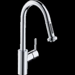 Кухонный смеситель Hansgrohe Talis M52 однорычажный, 220, Eco, с вытяжным душем, 2jet 72831000, хром