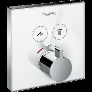 Термостат hansgrohe ShowerSelect Glass для двух потребителей стеклянный 15738400, белый/хром