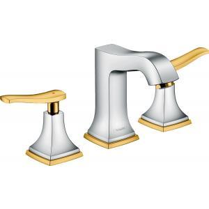 Смеситель hansgrohe Metropol Classic для раковины на 3 отверстия, с рычаговыми рукоятками и сливным гарнитуром 31330090, хром/под золото