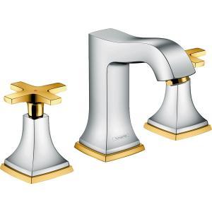 Смеситель hansgrohe Metropol Classic для раковины на 3 отверстия, с крестовыми рукоятками и сливным гарнитуром 31306090