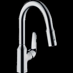 Кухонный смеситель Hansgrohe Focus M42 однорычажный, 180, с вытяжным душем, 2jet, sBox 71821000, хром