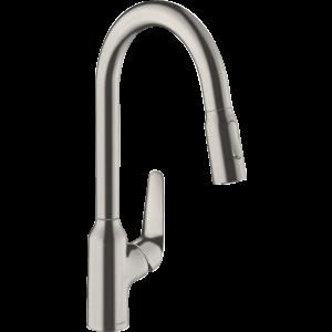 Кухонный смеситель Hansgrohe Focus M42 однорычажный, 220, с вытяжным душем, 2jet, sBox 71820800, под сталь