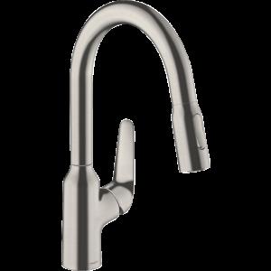 Кухонный смеситель Hansgrohe Focus M42 однорычажный, 180, с вытяжным душем, 2jet, sBox 71821800, под сталь