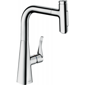 Кухонный смеситель Hansgrohe Metris Select M71 однорычажный, 240, с вытяжным душем, 2jet, sBox 73817000, хром