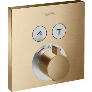 Термостат Hansgrohe ShowerSelect, скрытого монтажа, для 2 потребителей, шлифованная бронза 15763140