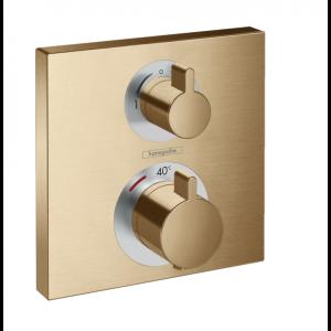 Термостат Hansgrohe Ecostat Square скрытого монтажа, для 2 потребителей, 15714140, шлифованная бронза