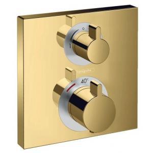 Термостат Hansgrohe Ecostat Square, скрытого монтажа, для 2 потребителей 15714990, полированное золото
