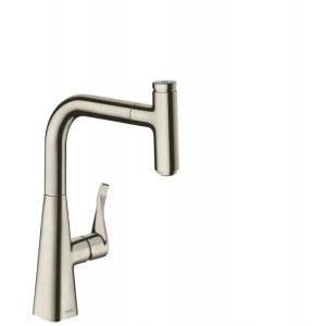 Кухонный смеситель hansgrohe Metris Select M71, однорычажный, 240, с вытяжным изливом, 1jet sBox 73802800, под сталь