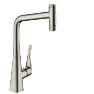 Кухонный смеситель hansgrohe Metris Select M71, 320, с вытяжным душем, 2jet, sBox, 73816800, под сталь
