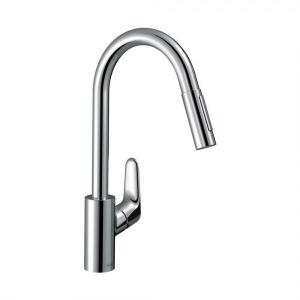 Кухонный смеситель однорычажный, 240, Eco, с вытяжным душем, Hansgrohe 2jet 31833000, хром
