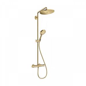 Душевая система 9 л/мин с термостатом и ручным душем Hansgrohe Showerpipe 280 1jet EcoSmart Raindance Select S 120 3jet 26891990, золото