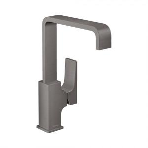 Смеситель для раковины 230, однорычажный, с рычаговой рукояткой, со сливным клапаном Push-Open, 32511340, шлифованный черный хром