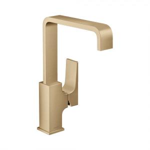 Смеситель для раковины 230, однорычажный, с рычаговой рукояткой, со сливным клапаном Push-Open, 32511140, шлифованная бронза