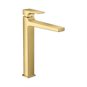 Смеситель для раковины 260, однорычажный, с рычаговой рукояткой, со сливным клапаном Push-Open, для раковины в форме таза, 32512990, полированное золото