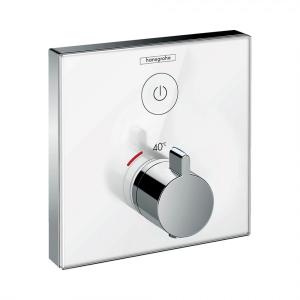 Термостат hansgrohe ShowerSelect Glass для одного потребителя, стеклянный, СМ, 15737400, белый/хром