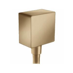 Шланговое подсоединение hansgrohe FixFit Square с клапаном обратного тока 26455140, шлиф. бронза