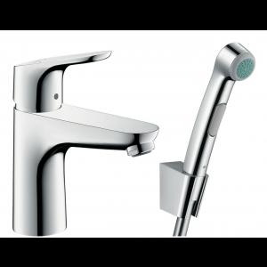 Смеситель hansgrohe Focus для раковины с гигиеническим душем и донным клапаном Push-Open 31927000, хром