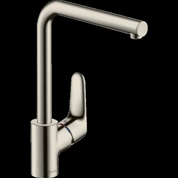 Смеситель hansgrohe Focus для кухонной мойки с L-образным поворотным изливом, сталь 31817800