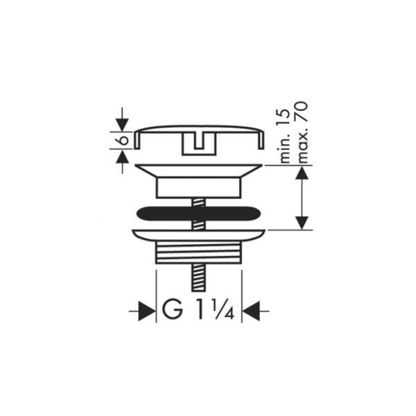 Сливной вентиль hansgrohe с фиксированной крышкой для раковины 50001000, хром