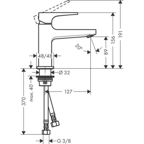 Смеситель для раковины 100, однорычажный, с рычаговой рукояткой, со сливным клапаном Push-Open, хром 32500000