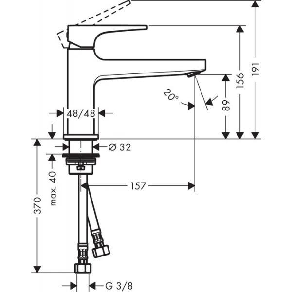 Смеситель hansgrohe Metropol для раковины с донным клапаном Push-Open 32502000