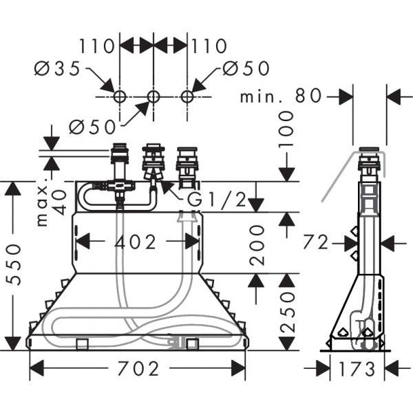 Скрытая часть смесителя hansgrohe Secubox на 3 отверстия на край ванны 13437180