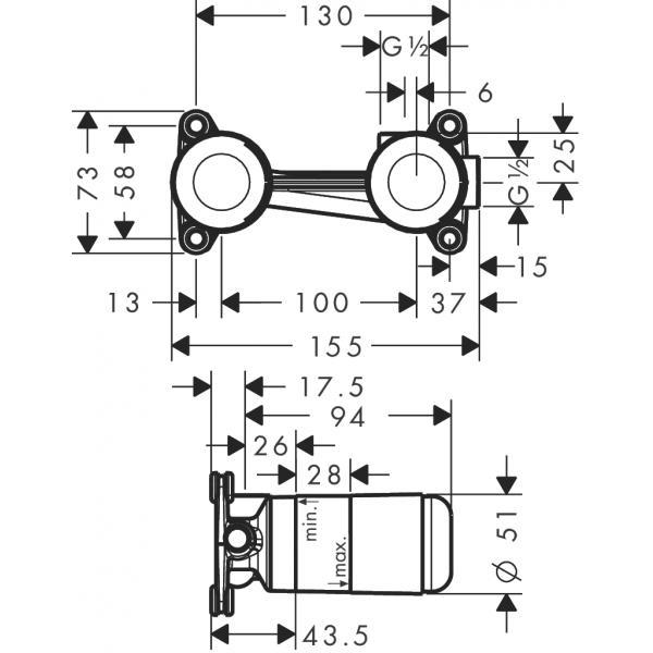 Скрытая часть hansgrohe для однорычажного смесителя для раковины 13622180