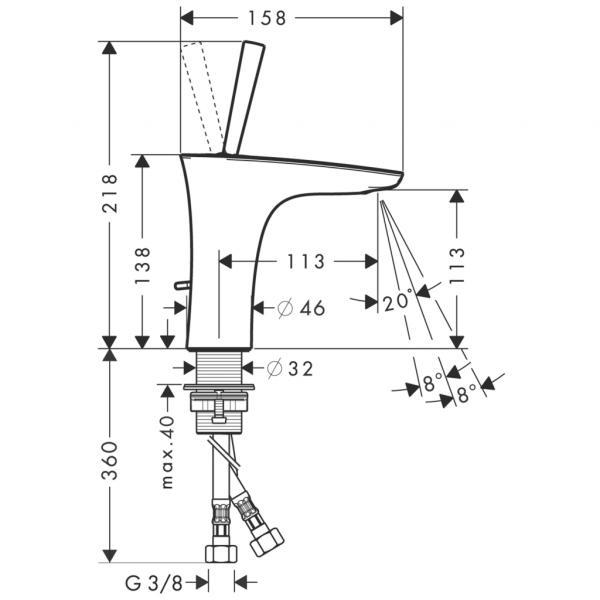 Смеситель hansgrohe PuraVida для раковины со сливным гарнитуром, хром 15074000