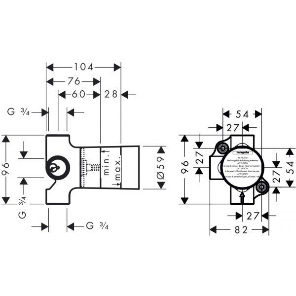 Скрытая часть запорного/переключающего вентиля hansgrohe Trio Universal 15981180