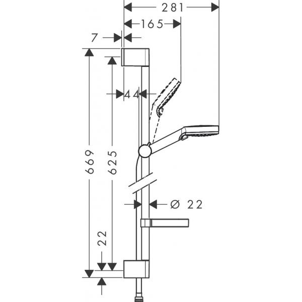 Душевой набор hansgrohe Crometta Vario и мыльницей Casetta 65 26553400, белый/хром