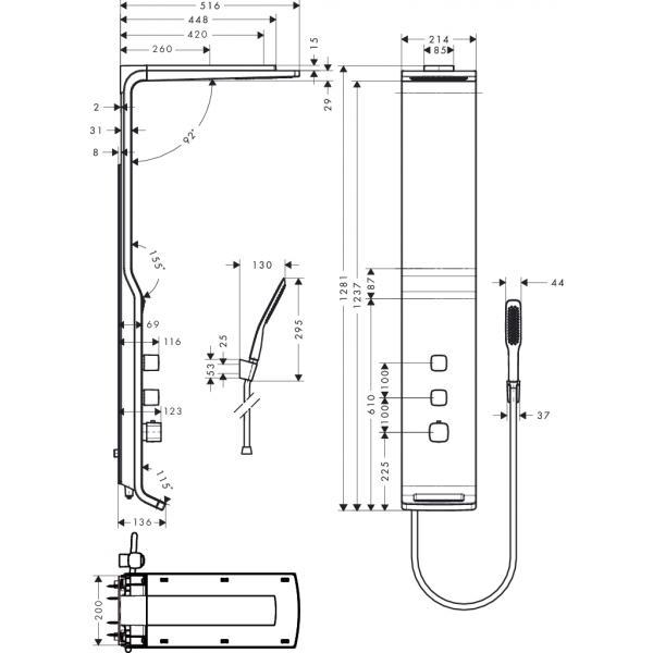Душевая панель hansgrohe Raindance Lift 180 2jet с термостатом, белый/хром 27008400