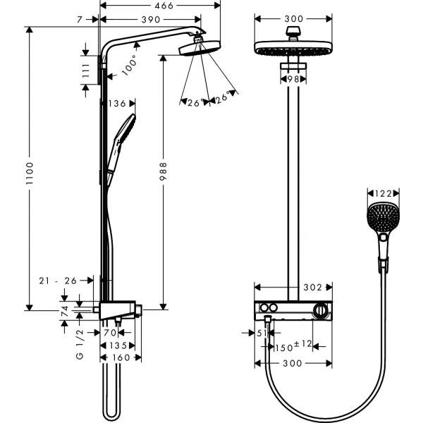 Душевая система hansgrohe Raindance Select E 300 2jet Showerpipe с термостатом, белый/хром 27126400