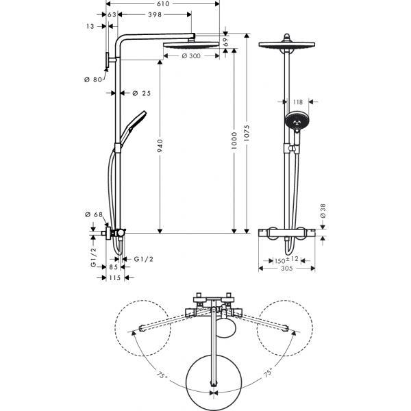 Душевая система hansgrohe Raindance Select S S300 2jet Showerpipe с термостатом 27133400, белый/хром