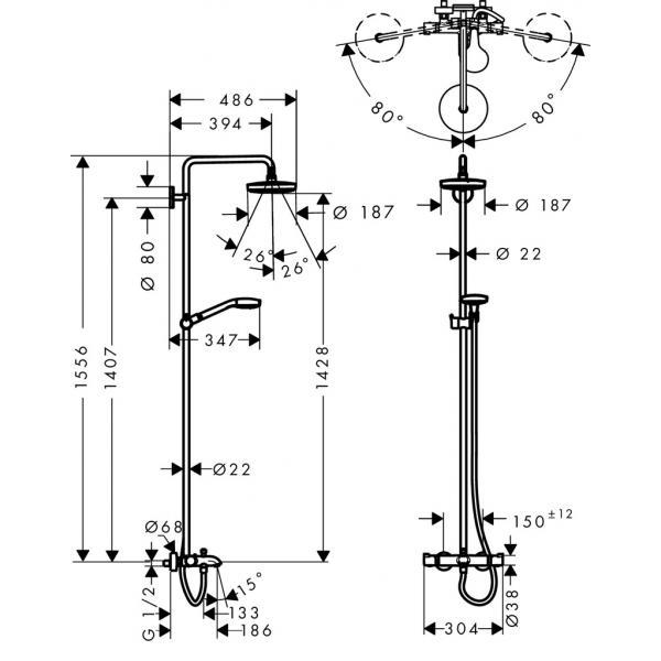 Душевая система hansgrohe Croma Select S 180 2 jet с термостатом 27351400