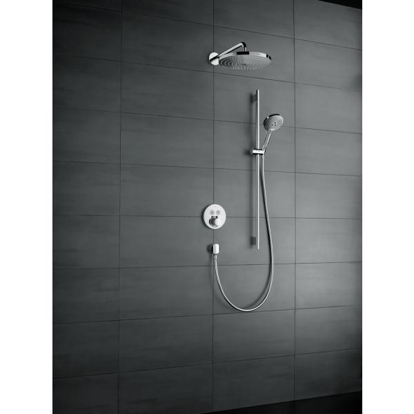 Верхний душ hansgrohe Raindance Select S 300 2jet с держателем 390 мм. 27378400, белый/хром