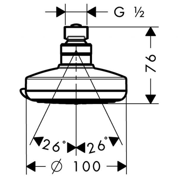 Верхний душ hansgrohe Croma 100 Vario 27441000, хром