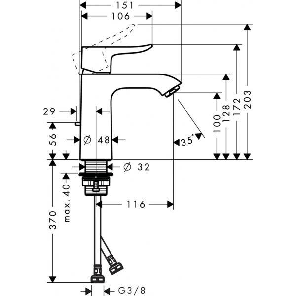 Смеситель hansgrohe Metris для раковины со средним изливом и сливным гарнитуром, хром 31080000