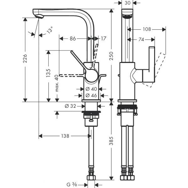 Смеситель hansgrohe Metris S для раковины с поворотным изливом и сливным гарнитуром, хром 31159000