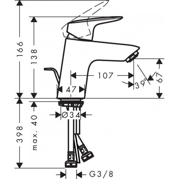 Смеситель hansgrohe Logis для раковины со сливным гарнитуром, хром 71070000