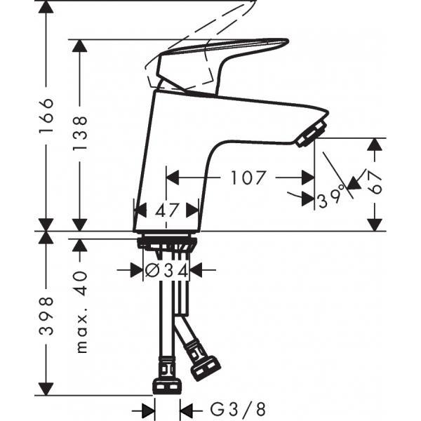 Смеситель hansgrohe Logis для раковины со сливным клапаном Push-Open, хром 71077000