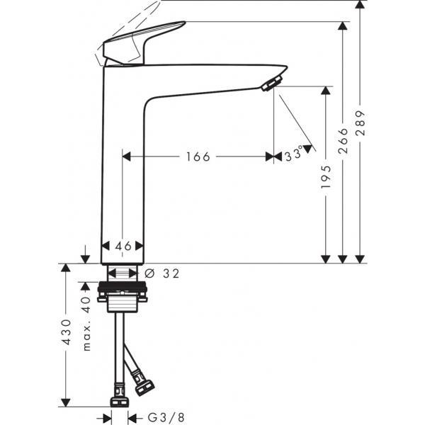 Смеситель hansgrohe Logis для раковины с высоким изливом без сливного набора, хром 71091000