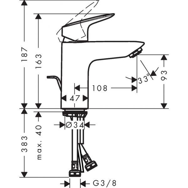 Смеситель hansgrohe Logis для раковины со средним изливом и сливным гарнитуром, хром 71100000