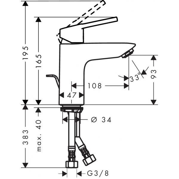 Смеситель hansgrohe Logis loop для раковины со средним изливом и сливным гарнитуром, хром 71151000