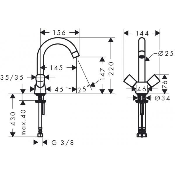 Смеситель hansgrohe Logis для раковины с двумя рукоятками без сливного набора, хром 71221000