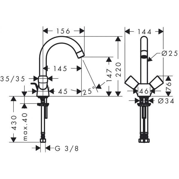 Смеситель hansgrohe Logis для раковины с двумя рукоятками и сливным гарнитуром, хром 71222000