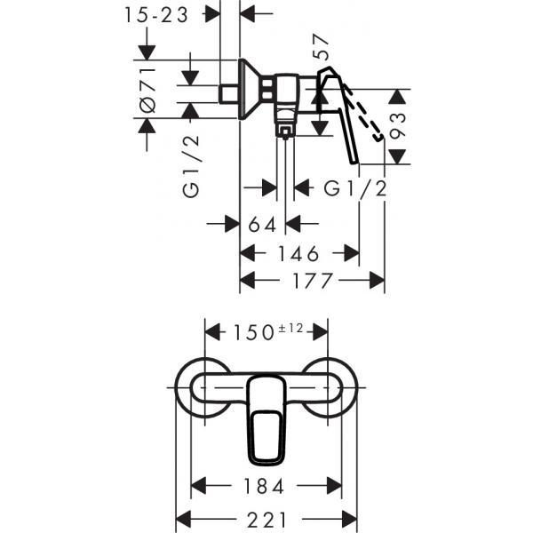 Смеситель hansgrohe Logis loop для душа 71247000