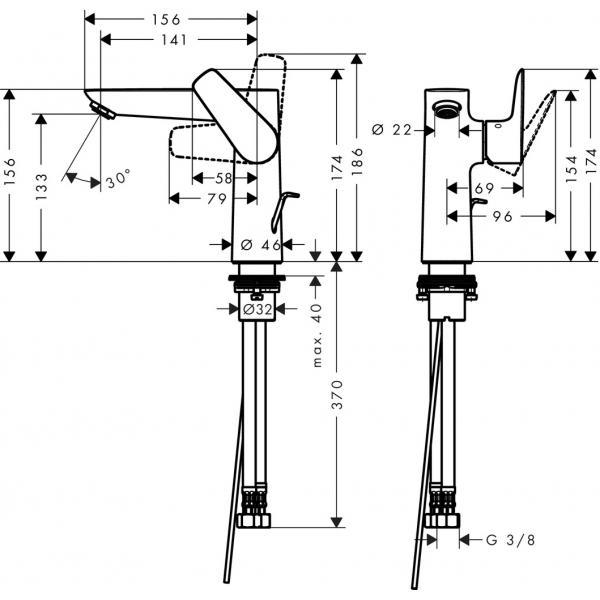 Смеситель hansgrohe Talis E для раковины со сливным гарнитуром 71754000, хром